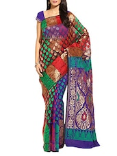 Printed Purple & Maroon Handloom Banarasi Silk Saree - By