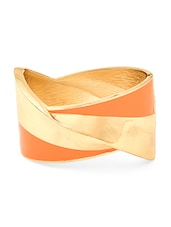 Gold And Orange Metal Alloy Bracelet - By
