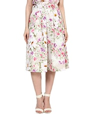 Cream Floral Printed Flared Skirt - By
