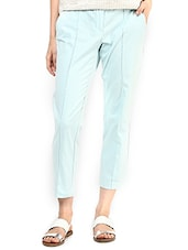 Solid Light Blue Ankle Length Trousers - By