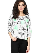 White Floral Printed Quarter Sleeved Top - By