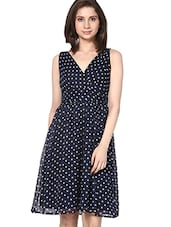Navy Blue Polka Dots Skater Dress - By