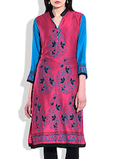 Magenta & Blue Rayon Printed Kurta - By