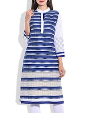Blue & White Rayon Printed Kurta - By