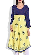 Yellow & Blue Rayon Printed Kurta - By