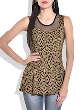 Brown Printed Sleeveless Top - By