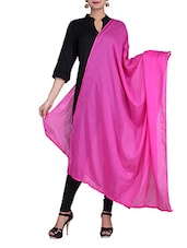 Pink Solid Color Cotton Dupatta - By
