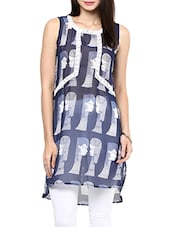 Blue And White Printed Lace Detailed Kurta - By