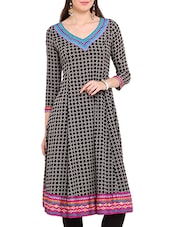 Black And Grey Printed Flared Kurta - By