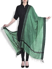 Green Silk Dupatta With Temple Border - By