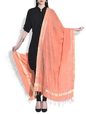 Orange Silk Dupatta With Temple Border - By