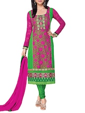 Embroidered Light Green & Pink Georgette Semi Stitched Salwar Suit - By