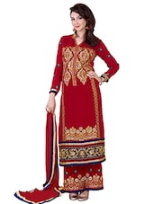 Embroidered Red Pure Georgette Zari Work Semi Stitched Salwar Suit - By