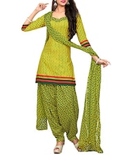 Yellow & Green Printed Un-stitched  Dress Material - By