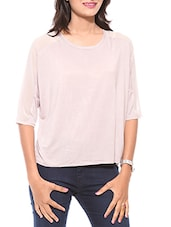 Baby Pink Round Neck Cotton T-shirt - By