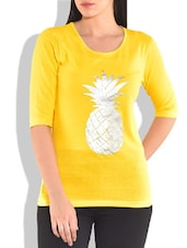 Yellow Printed Knitted Cotton T-shirt - By