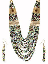 Multicolour Metal Alloy & Acrylic Beads Necklace Set - By
