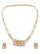 Golden Pearl & Metal Alloy Necklace Set - By