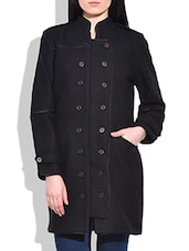 Black Woollen Plain Coat - By