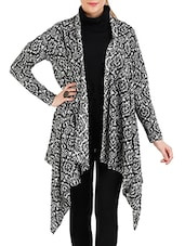 Black , White Acrylic Wool Shrug - By