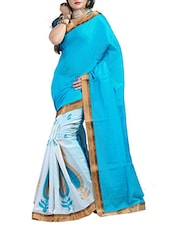 Sky &white  Cotton Jut Dhupion Saree - By