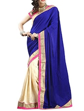 Blue & Cream  Chiffon Dhupion Saree - By