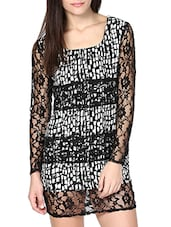 Black And White Printed Lace Dress - By