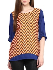 Blue And Orange Chevron Full Sleeves Crepe Top - By