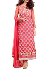 Dusty Pink Color Pure Georgette Dress Material - By