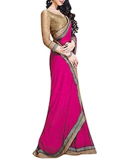 Solid Pink Chiffon Bordered Saree - By