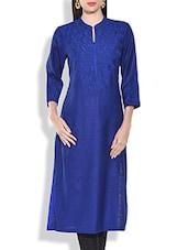 Royal Blue Embroidered Silk Kurta - By
