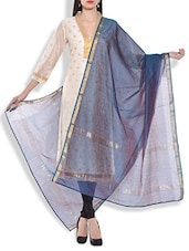 Midnight Blue Chanderi Silk Dupatta - By