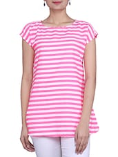 PINK & WHITE POLY CREPE Top - By