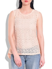 Peach Poly Lace,Poly Georgette Top - By