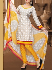 White Crepe Unstitched Dress Material - By