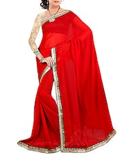 Red Faux Georgette Saree - By