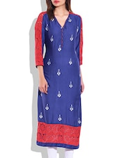 Blue & Red Rayon Lace Kurta - By