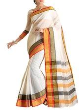 White, Brown Cotton Silk Saree - By