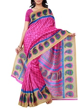 Multi Colour Colour Bhagalpuri Silk Saree - By