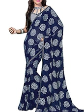 Blue Chiffon Saree - By