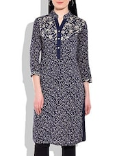 Navy Blue & Beige Printed Cotton Kurta - By