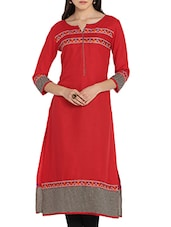Red Rayon Embroidery Kurta - By
