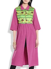 Fuchsia Khadi Cotton Printed And Front Open Tunic - By