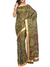 Mehndi Color Tussar Silk Printed Saree -  online shopping for Sarees