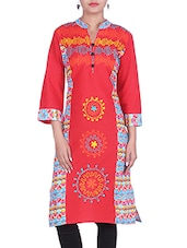 Red Embroidered And Printed Cotton Kurta - By