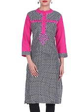 Monochrome Cotton Printed Kurta With Mirror Embroidery - By