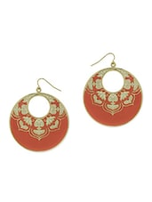 Red, Gold Metal Alloy Earring - By