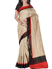 Black, Beige , Red  Bhagalpuri Cotton Saree - By