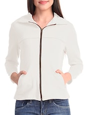 White Poly Lycra Plain Jacket - By