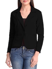 Solid Black Poly Lycra Blazer - By